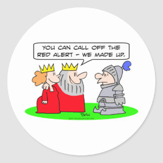 red alert king queen made up classic round sticker