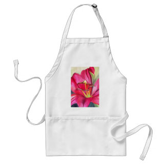 Red Alert Lily watercolor art flower painting Adult Apron