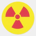 RED ALERT RADIATION WARNING! ROUND STICKERS
