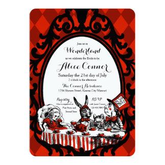 Red Alice in Wonderland Shower Invitations