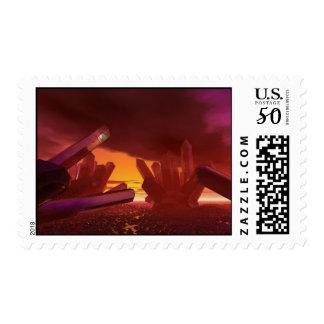 Red Alien Crystal World Postage