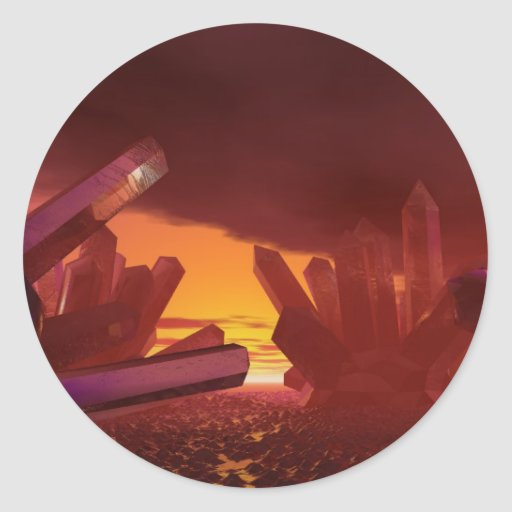 Red Alien Crystal World Sticker
