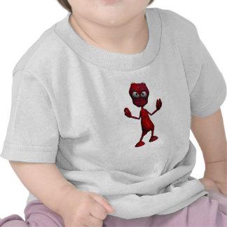 Red Alien Design Tee Shirts