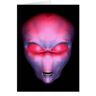 Red Alien Face Card
