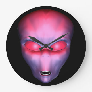 Red Alien Face Large Clock