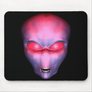 Red Alien Face Mouse Pad