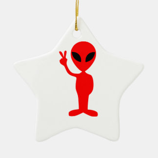 Red Alien Gesturing Peace Sign with Hand Ceramic Ornament