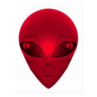 RED ALIEN POSTCARD