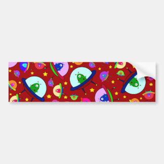 Red alien spaceship pattern bumper sticker