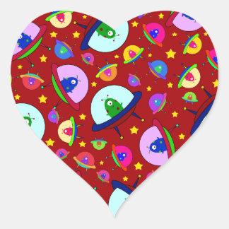Red alien spaceship pattern heart sticker