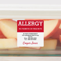 Red Allergy Alert Emergency Contact Info Kids Kids' Labels