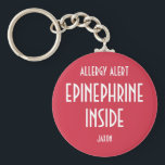 "Red Allergy Personalized Medicine Epinephrine Kids Keychain<br><div class=""desc"">Red Allergy Alert Personalized Medicine Epinephrine Key Chain. Personalized with name or list allergens. background and text stating ALLERGY ALERT, EPINEPHRINE INSIDE helps locate medicine in case of emergency. Personalize with name. Great to attach to medicine kits, book bags, lunch boxes to help alert to epinephrine. Designs by Lil Allergy...</div>"