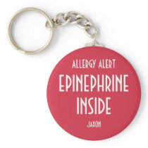 Red Allergy Personalized Medicine Epinephrine Kids Keychain