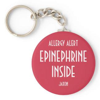 Red Allergy Personalized Medicine Epinephrine Kids Keychain