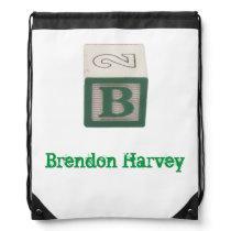 Red Alphabet Block custom labelled B library Drawstring Backpack
