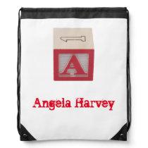 Red Alphabet Block custom labelled library bag