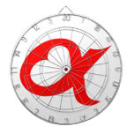 Red alpheart dartboard with darts