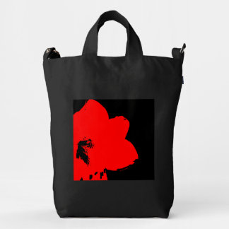 red amaryllis abstract duck bag