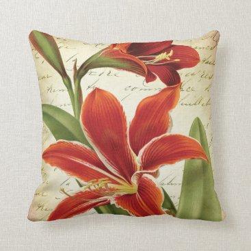 Christmas Themed Red Amaryllis Christmas Flower Botanical Throw Pillow
