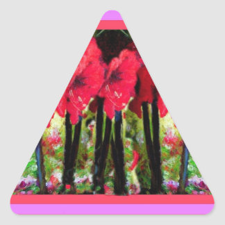 Red Amaryllis Flowers Gifts by Sharles Triangle Sticker