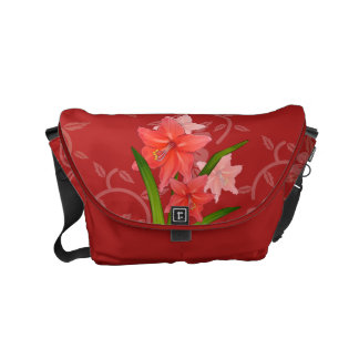 Red Amaryllis Flowers on red floral background Small Messenger Bag