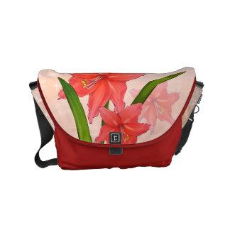 Red Amaryllis Flowers Small Messenger Bag