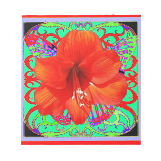 Red Amaryllis Green Art Design Gifts Memo Pads