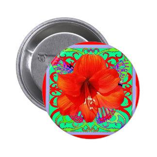 Red Amaryllis Green Art Design Gifts Pinback Button