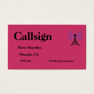 Red Amateur Radio Call Sign Business Card