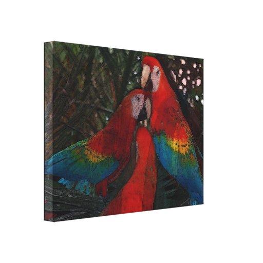Red Amazon Parrots Canvas Prints
