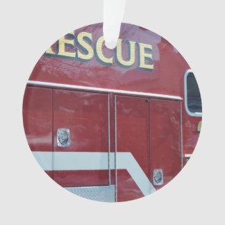 Red Ambulance Closeup Ornament