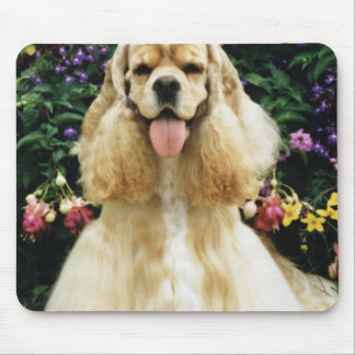 Red American cocker spaniel champion flowers Mousepad