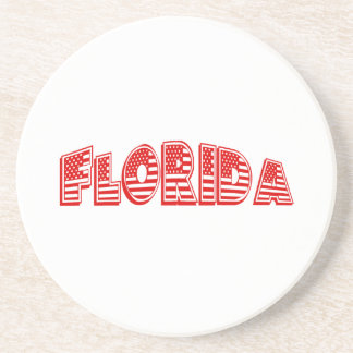 Red American Flag Florida Drink Coasters
