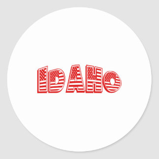 Red American Flag Idaho Round Stickers