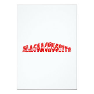Red American Flag Massachusetts 3.5x5 Paper Invitation Card