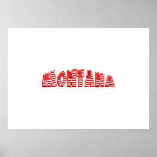 Red American Flag Montana Print