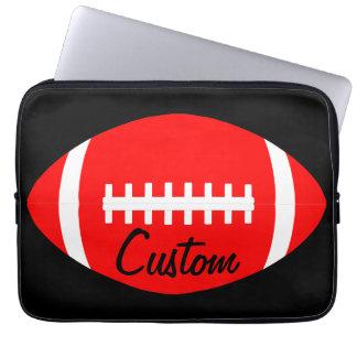Red American Football Player, Coach or Team Custom Laptop Sleeve