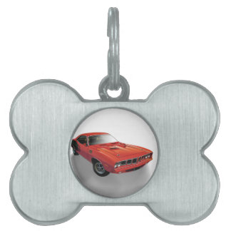 Red American muscle car Pet Name Tag