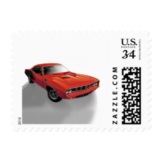 Red American muscle car Postage