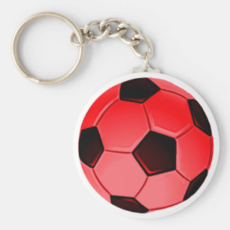 Red American Soccer or Association Football Ball Keychain