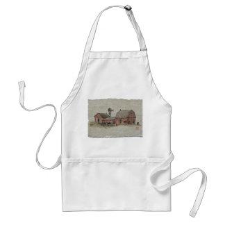 Red Amish Barn & Windmill Adult Apron