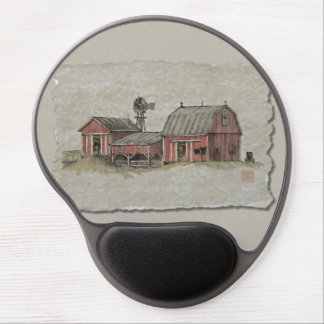 Red Amish Barn & Windmill Gel Mouse Pad