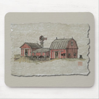 Red Amish Barn & Windmill Mouse Pad