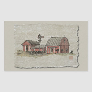 Red Amish Barn & Windmill Rectangle Sticker