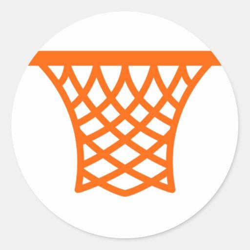 Red anaranjada del baloncesto etiquetas redondas