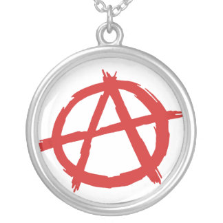 Red Anarchist A Symbol Anarchy Logo Round Pendant Necklace