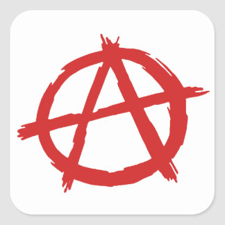 Red Anarchist A Symbol Anarchy Logo Square Sticker