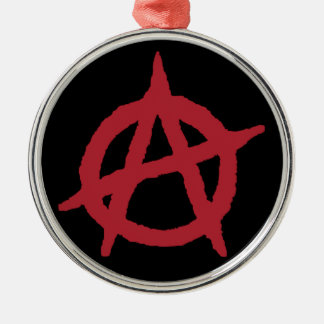 Red Anarchy Symbol Round Metal Christmas Ornament