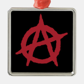 Red Anarchy Symbol Square Metal Christmas Ornament