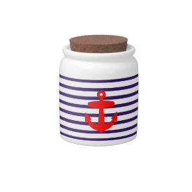 Red Anchor and Navy Blue Sailor Stripes Candy Jar at Zazzle